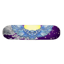 Owl in flight skateboard deck