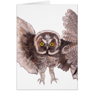 """Owl In Flight"" Vertical Notecard"