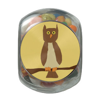 Owl in Full Moon jelly bean container Glass Jars