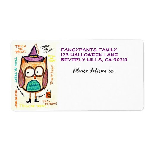 Owl in Hat and Boots, Halloween Mailing Labels