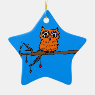Owl in Heart Tree Ceramic Ornament