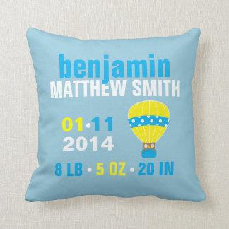 Owl in Hot Air Balloon Baby Birth Announcement Pillow
