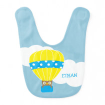 Owl in Hot Air Balloon Personalized Baby Bib