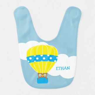 Owl in Hot Air Balloon Personalized Bibs