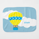 Owl in Hot Air Balloon Personalized Baby Burp Cloth