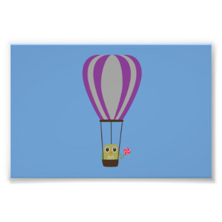 Owl in hot-air balloon with a lollipop photo print