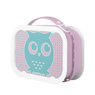 Owl in Light Pink and Blue on Flower Background Lunch Box