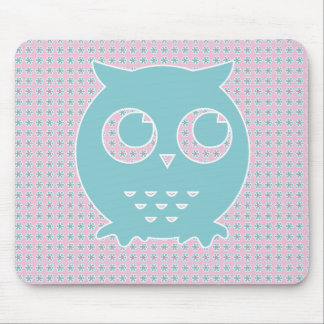Owl in Light Pink and Blue on Flower Background Mouse Pad