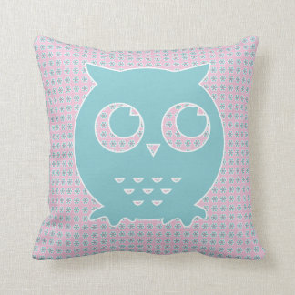 Owl in Light Pink and Blue on Flower Background Throw Pillow