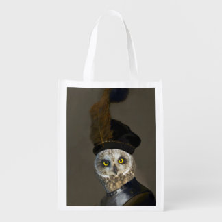 Owl in Military Costume - Rembrandt Spoof Grocery Bag