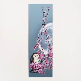 Owl in Plum Tree Yoga Mat