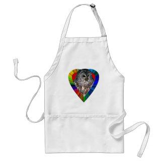 Owl In Rainbow Heart Apron