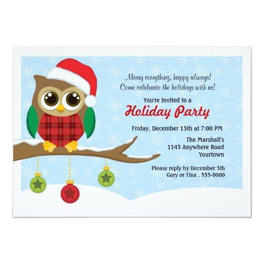 Owl in Santa Hat Holiday Party Invitation