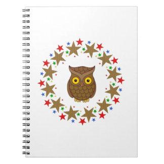 Owl in Stars Spiral Notebook