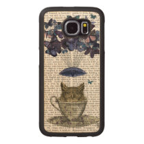 Owl In Teacup Wood Phone Case