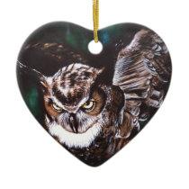 Owl in the night ceramic ornament