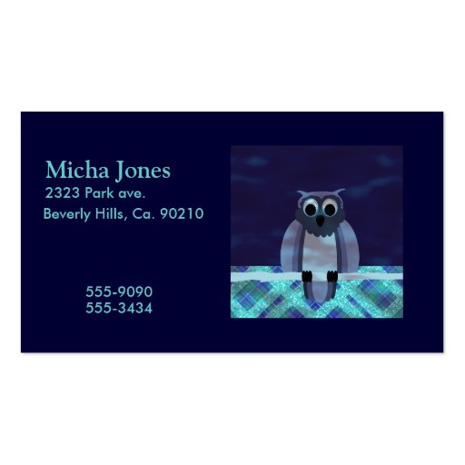 Owl In The Night Gingham Business Card