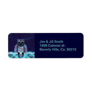 Owl In The Night Gingham Label