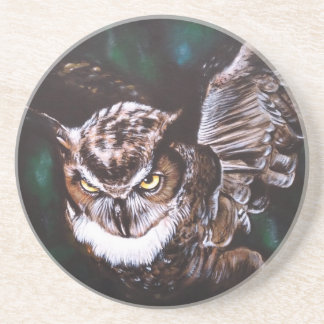 Owl in the night sandstone coaster