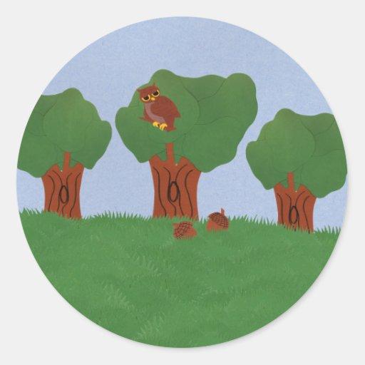 Owl in the Oak Tree Sunburst Design Classic Round Sticker