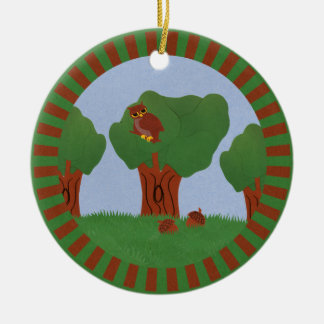 Owl in the Oak Tree Sunburst Design Christmas Ornaments