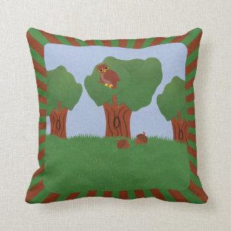 Owl in the Oak Tree Sunburst Design Pillows