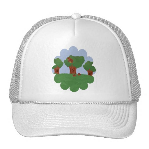 Owl in the Oak Tree Sunburst Design Trucker Hat