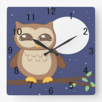 Owl in Tree Square Wall Clock