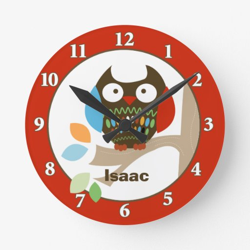 Owl in Tree Tops Personalized Wall Clock - Red