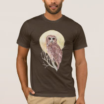Owl in Tree with Moon Watercolor Bird, Animal T-Shirt