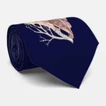 Owl in Tree with Moon Watercolor Bird, Animal Tie