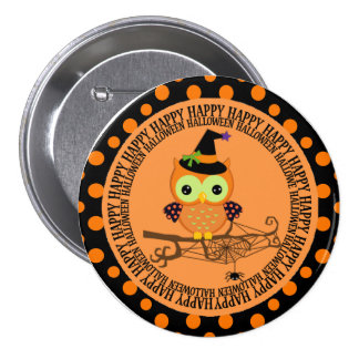 Owl in Witch Hat Halloween Button