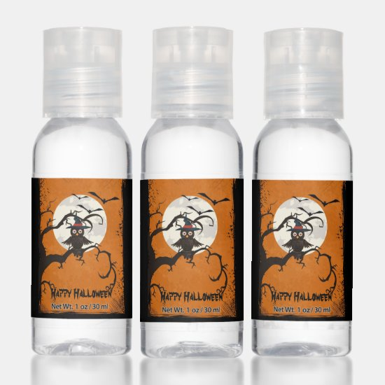Owl in Witch's Hat Spooky Tree Halloween Party Hand Sanitizer