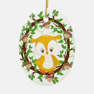 Owl  in wreath WOODLAND CRITTERS Ceramic Ornament