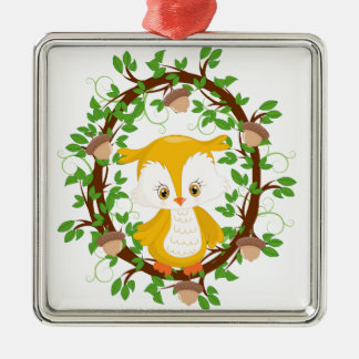 Owl  in wreath WOODLAND CRITTERS Metal Ornament