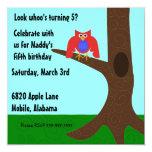 """Owl Invitation 5.25"""" Square Invitation Card"""