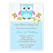 Owl Invitation - Boy 1st Birthday / Baby Shower