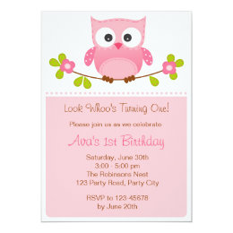 Owl birthday invitations announcements zazzle owl invitation girl 1st birthday baby shower filmwisefo Image collections