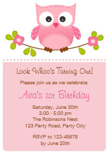 Owl Invitation 1st Birthday Baby Shower