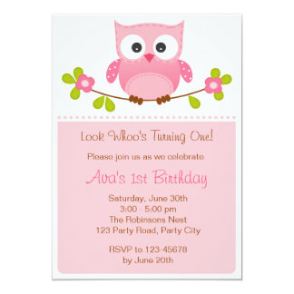 Owl St Birthday Invitations Announcements Zazzle - 1st birthday invitations girl owl