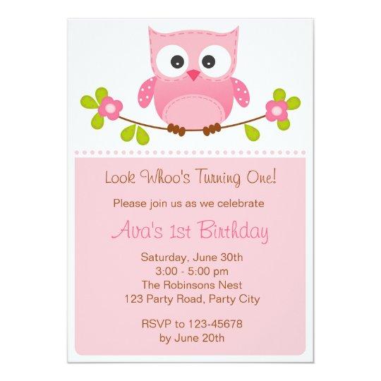 Owl invitation girl 1st birthday baby shower zazzle owl invitation girl 1st birthday baby shower filmwisefo