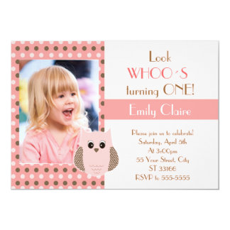 Owl Invitation Girl Birthday Party Photo Card