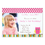 Owl Invitation Girl Birthday Party Photo Card Pink