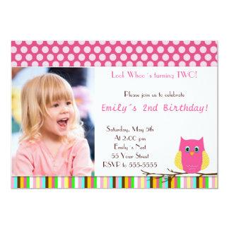 Owl Invitation Girl Birthday Party Photo Card Pink