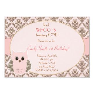 Owl Invitation Girl Birthday Party Pink Gold