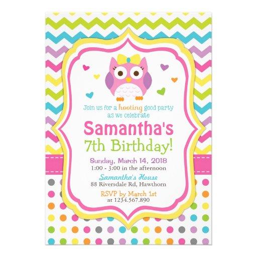 Owl Invitation / Owl Birthday Invitation / Invite