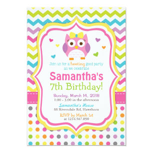 Rainbow Owl Invitations Zazzle