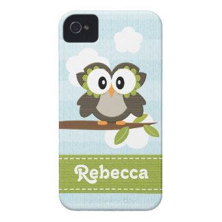 Owl iPhone 4/4s Case Mate Cover Blue Stripe