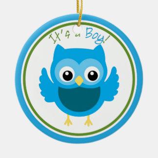 Owl It's a Boy Gender Reveal Ceramic Ornament
