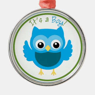 Owl It's a Boy Gender Reveal Metal Ornament